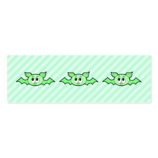Cute Bat in Green. Double-Sided Mini Business Cards (Pack Of 20)