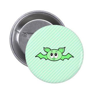 Cute Bat in Green. Pinback Button