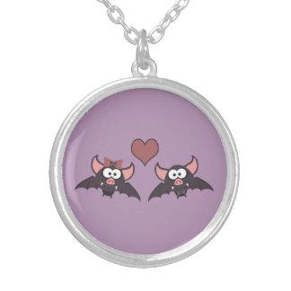 Cute Bat Love Desgin Silver Plated Necklace