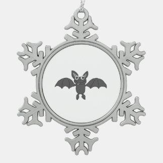 Cute bat snowflake pewter christmas ornament