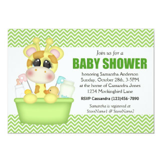 Cute Bath Time Giraffe Baby Shower Card