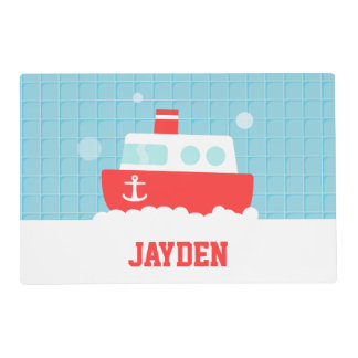 Cute Bath Toy Boat Nautical For Boys Placemat