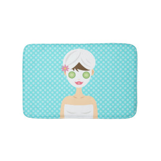 Cute Bathing Woman With A White Face Mask Bathroom Mat
