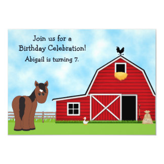 Cute Bay Horse and Red Barn Girls Birthday Party 5x7 Paper Invitation Card