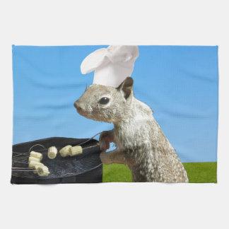 Cute BBQing Squirrel Hand Towel