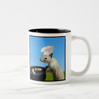 Cute BBQing Squirrel Two-Tone Coffee Mug