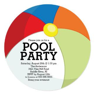 Cute Beach Ball Pool Party 5.25x5.25 Square Paper Invitation Card