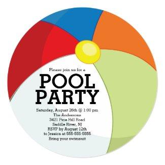 Cute Beach Ball Pool Party Invitation