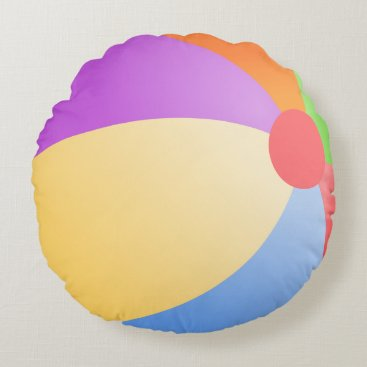 Beach Themed Cute Beach Ball Round Pillow