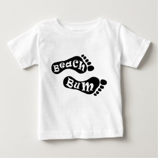 Cute Beach Bum Barefoot Footprint Black White Feet Baby T-Shirt