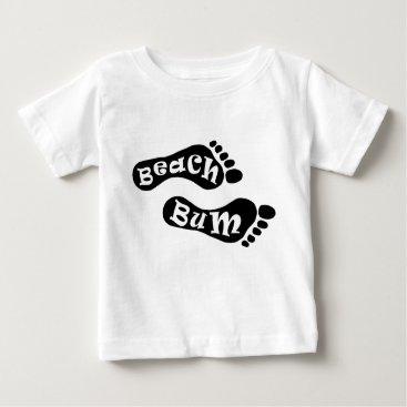 Beach Themed Cute Beach Bum Barefoot Footprint Black White Feet Baby T-Shirt