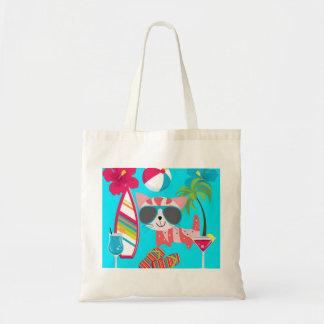 Cute Beach Bum Kitty Cat Sunglasses Beach Ball Canvas Bags