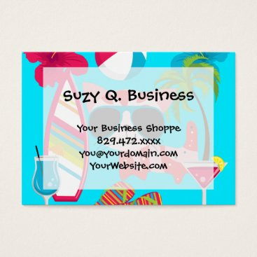 Beach Themed Cute Beach Bum Kitty Cat Sunglasses Beach Ball Business Card