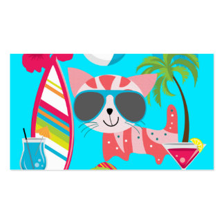 Cute Beach Bum Kitty Cat Sunglasses Beach Ball Business Card