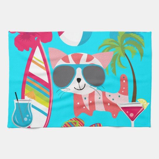 Cute Beach Bum Kitty Cat Sunglasses Beach Ball Hand Towel