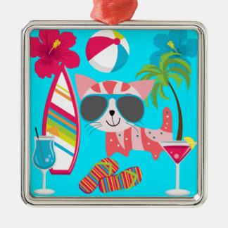 Cute Beach Bum Kitty Cat Sunglasses Beach Ball Metal Ornament