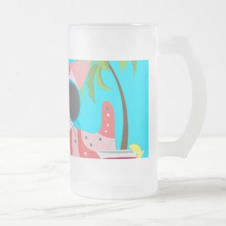 Cute Beach Bum Kitty Cat Sunglasses Beach Ball 16 Oz Frosted Glass Beer Mug