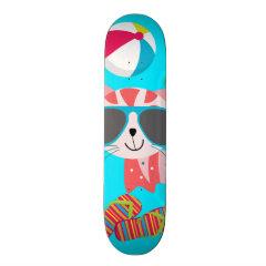 Cute Beach Bum Kitty Cat Sunglasses Beach Ball Skate Board Decks
