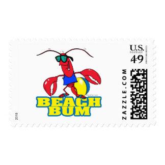 cute beach bum lobster cartoon graphic stamp