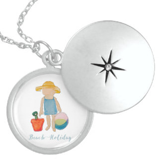 Cute Beach Girl on Summer Holiday Round Locket Necklace