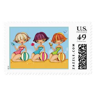 Cute Beach Girls Postage - srf