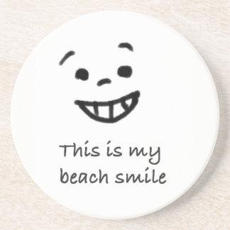 Cute Beach Lover Smile Doodle Face Text Design Drink Coaster