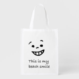 Cute Beach Lover Smile Doodle Face Text Design Reusable Grocery Bag