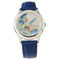 cute beach ocean seashells personalized design wristwatch