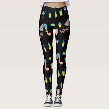 Beach Themed Cute Beach Party, on black Leggings