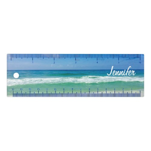 Cute Beach Photo Summer Seaside Monogram Ruler