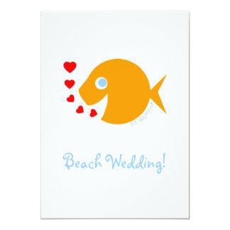 Cute Beach Poolside Destination Wedding Save Date Card