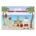 Cute Beach Santa Clause Merry Christmas Greeting Card