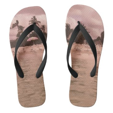 Cute Beach Scene Photo Painting Design Flip Flops