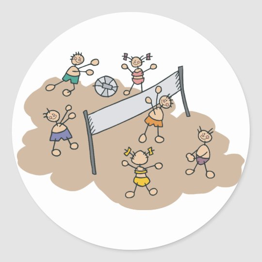 Cute Beach Volleyball Classic Round Sticker