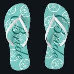 """Cute beach wedding flip flops for bride and groom<br><div class=""""desc"""">Cute beach wedding flip flops for bride and groom. Vintage sand dollar shell pattern design. Custom strap color for him and her / men and women. Custom background color and personalizable with name initials. Elegant aqua / turquoise blue and white his and hers sandals with stylish script calligraphy typography. Cute...</div>"""