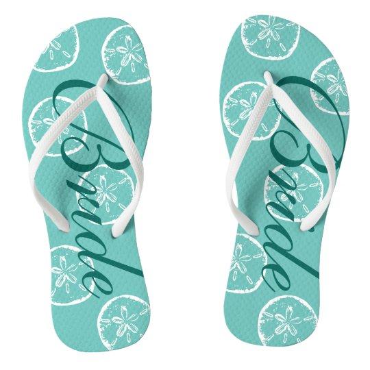 991023aca0c Cute beach wedding flip flops for bride and groom