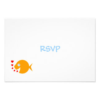 Cute Beach Wedding RSVP Card with Goldfish Heart