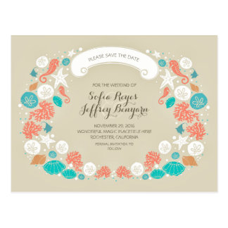 Cute Beach Wedding Save The Date Postcards