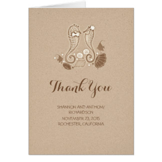cute beach wedding thank you cards - seahorses
