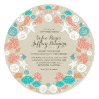 Cute beach wreath wedding invitations