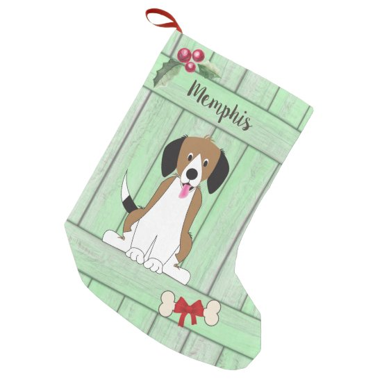 Cute Beagle Boy Dog Green Wooden Fence Monogram Small Christmas Stocking