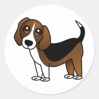 Cute Beagle Cartoon Dog Classic Round Sticker