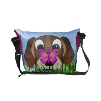Cute Beagle Dog and Pink Butterfly Messenger Bags