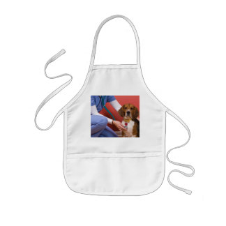 Cute Beagle Dog Getting a Veterinary Checkup Kids' Apron