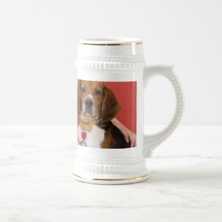 Cute Beagle Dog Getting a Veterinary Checkup Beer Stein