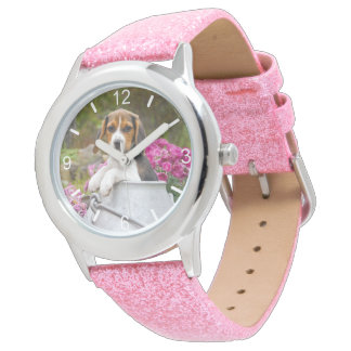 Cute Beagle Dog Puppy Churn  Strapwatch dial-plate Watch
