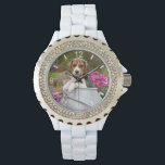 """Cute Beagle Dog Puppy Milk Churn women dial-plate Wrist Watch<br><div class=""""desc"""">A young puppy-eyed tricolor Beagle puppy is sitting in a milk churn admist pink flowers The Beagle is a scenthound dog breed with a gentle temperament. A cute doggy photo taken by Katho Menden. This rhinestone watch with dial-plate for women is a gift idea for dog lovers. http://www.zazzle.com/kathom_photo If you...</div>"""