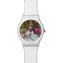 Cute Beagle Dog Puppy Milk Churn women  dial-plate Wrist Watch