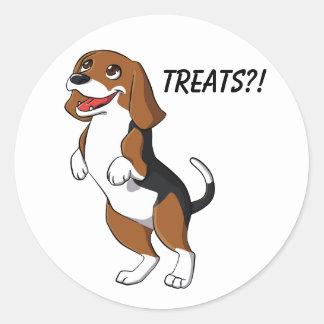 Cute Beagle Dog Puppy Treats Yum Dinner Time Love Classic Round Sticker