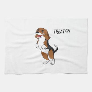 Cute Beagle Dog Puppy Treats Yum Dinner Time Love Hand Towels